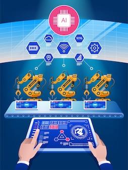 Inteligência artificial inteligente indústria, automação e conceito de interface de usuário: usuários se conectando com um tablet e um smartphone, trocando dados com um sistema ciberfísico
