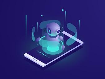 Inteligência Artificial, isométrica ai robô na tela do celular, chatbot app