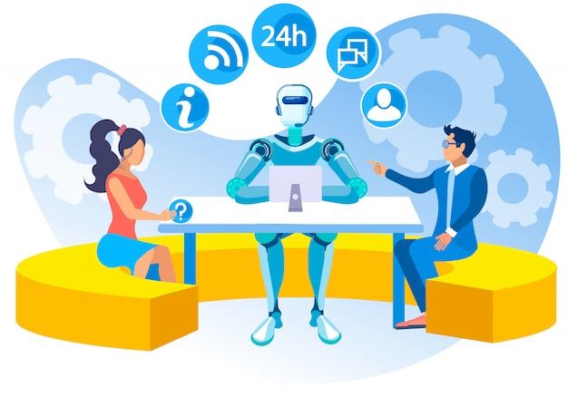 Inteligência artificial no cartoon de call center.