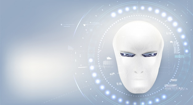 Inteligência artificial. página de destino de fundo branco cyborg masculino tecnologia representam inteligência artificial