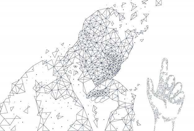 Inteligência artificial person hand poster vector
