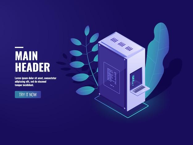 Inteligência artificial processo automatizado grande processamento de dados, sala de servidores, poder de computação