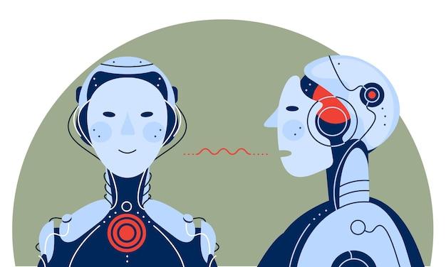 Inteligência artificial se comunicando conceito ilustração da moda