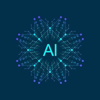 Inteligência artificial símbolo ai. aprendizagem profunda e projeto de conceito de tecnologia do futuro.
