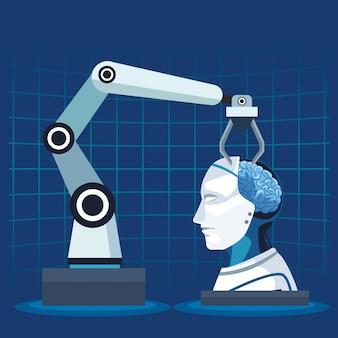 Inteligência artificial tecnologia braço robótico cyborg cérebro humano