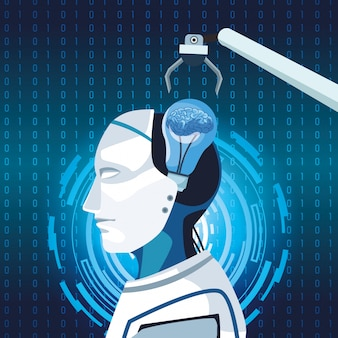 Inteligência artificial tecnologia braço robótico cyborg máquina de desenvolvimento do cérebro humano