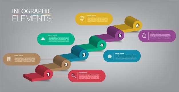 Intensificar a escada de conceito de sucesso empresarial vector infográfico