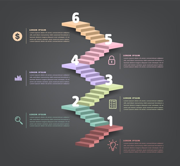 Intensificar o vetor de infográfico de escada de conceito de sucesso de negócios
