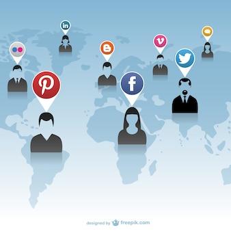 Interação de mídia social rede global
