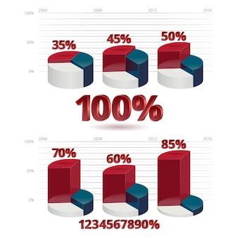 Interesse de gráficos de informação. branco azul vermelho. ilustração vetorial