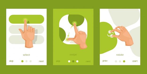 Interface amigável, move o conjunto de cartões, cartazes. gestos de mão de tela de toque para tablet móvel