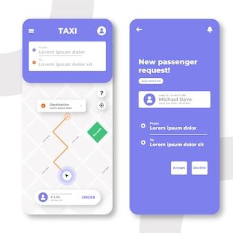 Interface criativa do aplicativo de táxi