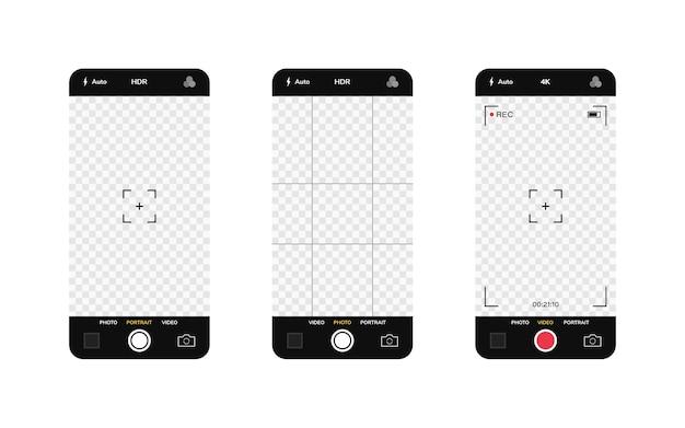 Interface da câmera do telefone. aplicativo de aplicativo móvel. gravação de fotos e vídeos. gráfico de ilustração.