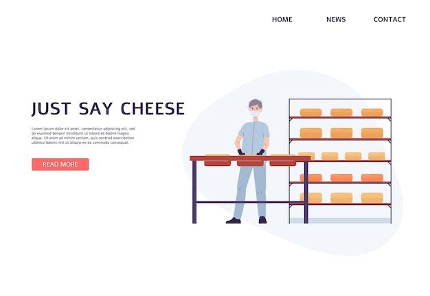 Interface da página do site para fábrica de laticínios com funcionário que trabalha na produção de queijo, ilustração vetorial plana