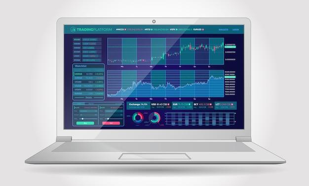 Interface da plataforma de negociação com elementos infográficos
