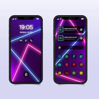 Interface da tela inicial de néon