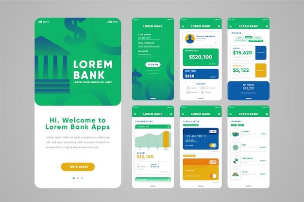 Interface de aplicativo bancário e de transação