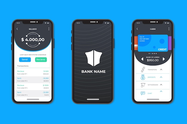 Interface de aplicativo bancário minimalista