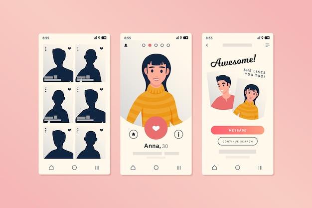 Interface de aplicativo de namoro para smartphones