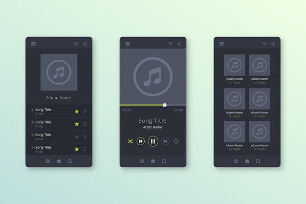 Interface de aplicativo de player de música moderna