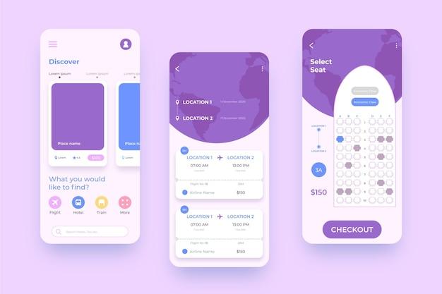 Interface de aplicativo de reserva de viagem para telefones móveis