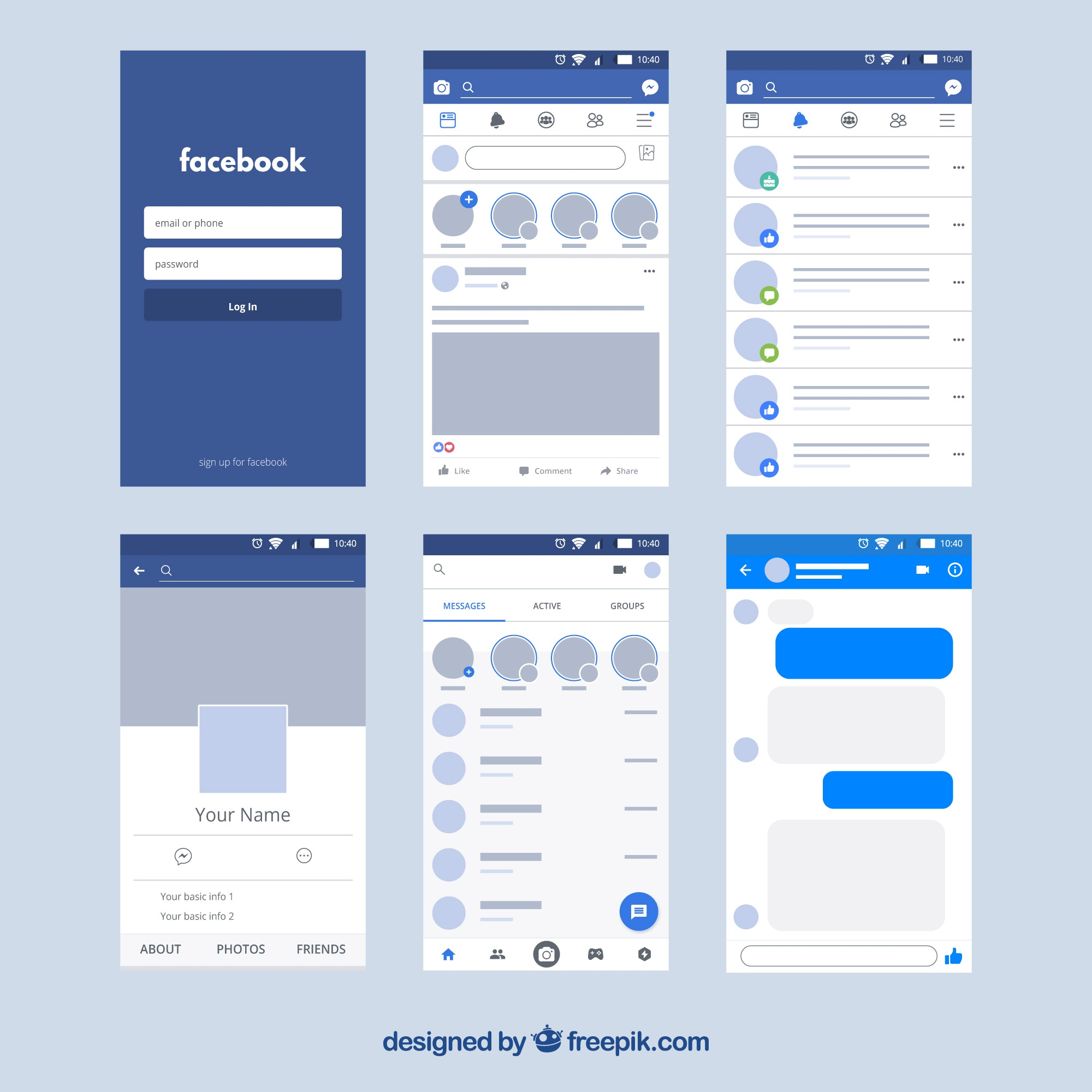 Interface de aplicativo do Facebook com design minimalista