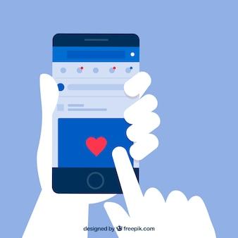 Interface de aplicativo do facebook com design minimalista