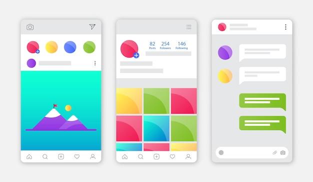 Interface de aplicativo do instagram com design plano