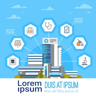 Interface de aplicativo hospital on-line ícones de tratamento médico bandeira de conceito on-line medicina