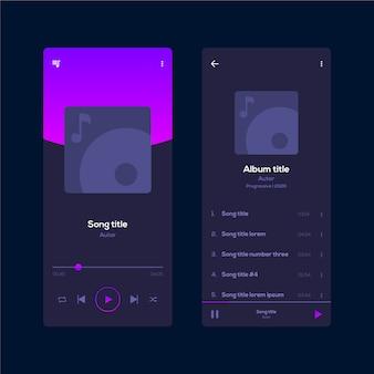 Interface de aplicativo minimalista do music player