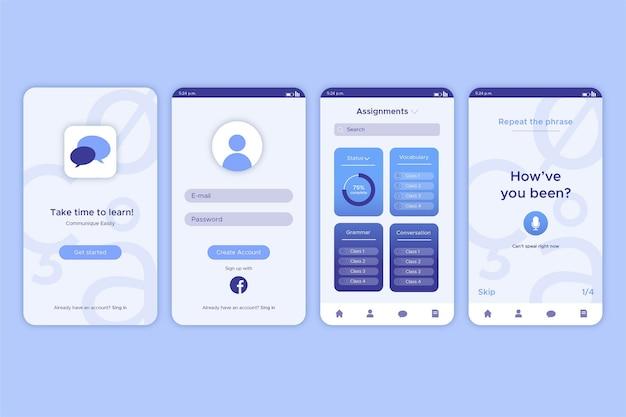 Interface de aplicativo para aprender um novo idioma