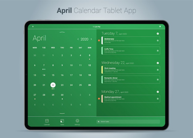 Interface de aplicativo para tablet do calendário de abril
