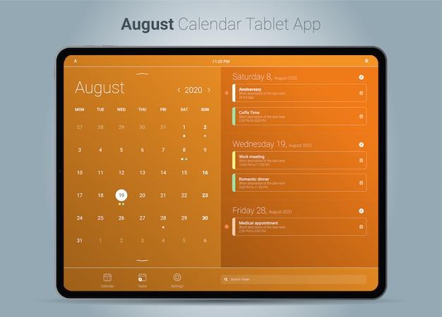 Interface de aplicativo para tablet do calendário de agosto