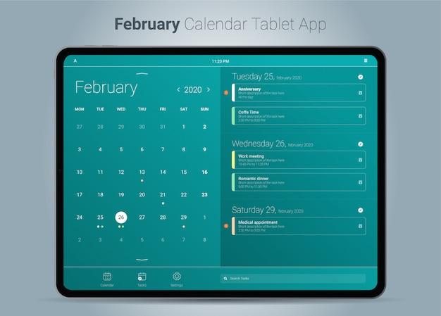 Interface de aplicativo para tablet do calendário de fevereiro