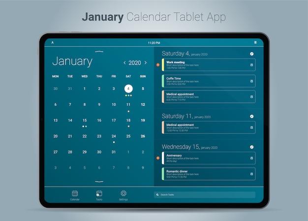 Interface de aplicativo para tablet do calendário de janeiro