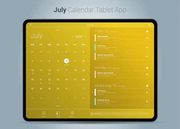 Interface de aplicativo para tablet do calendário de julho