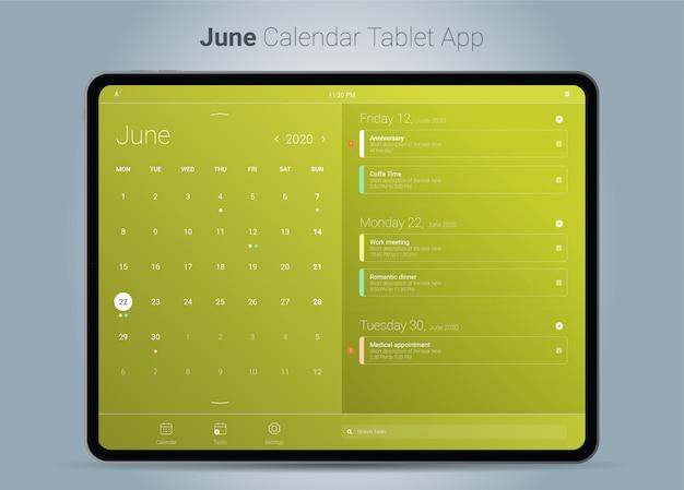Interface de aplicativo para tablet do calendário de junho