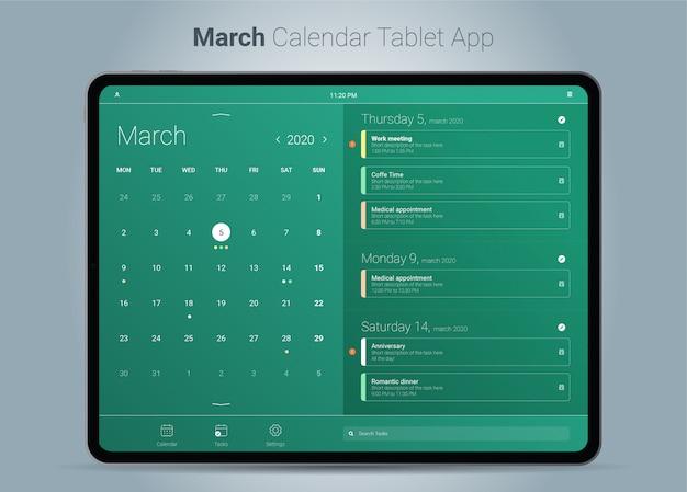 Interface de aplicativo para tablet do calendário de março