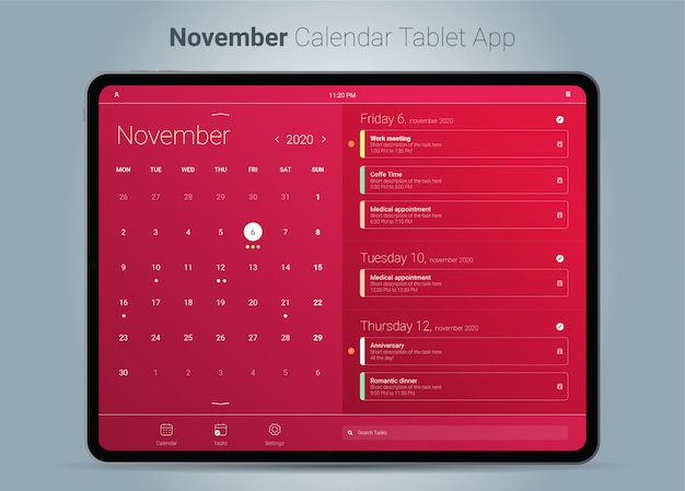 Interface de aplicativo para tablet do calendário de novembro