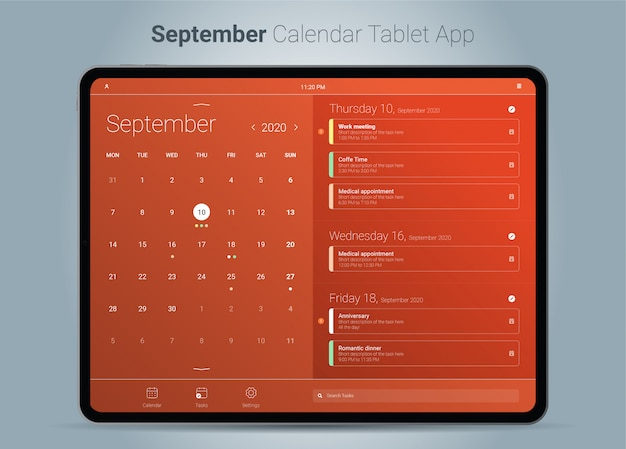 Interface de aplicativo para tablet do calendário de setembro