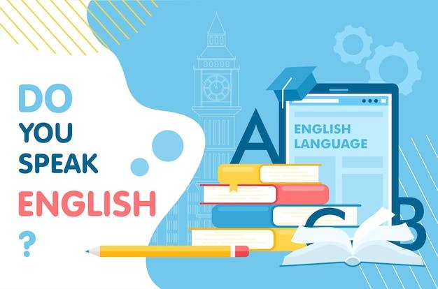 Interface de aprendizagem em inglês, aprendizagem de línguas, conceito de educação escolar infográfico