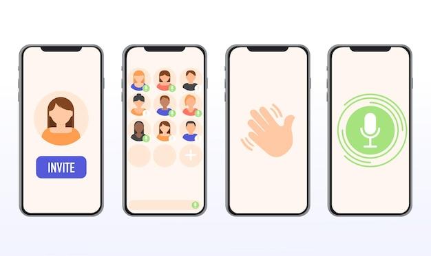 Interface de bate-papo com áudio de dropin de aplicativo modelo de aplicativo nova rede social para comunicação v