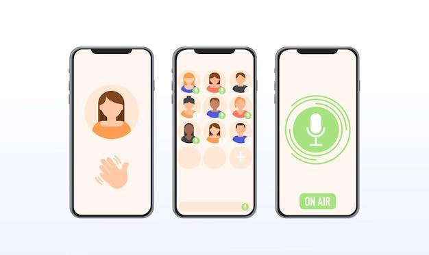 Interface de bate-papo com áudio de dropin de aplicativo modelo de aplicativo nova rede social para comunicação