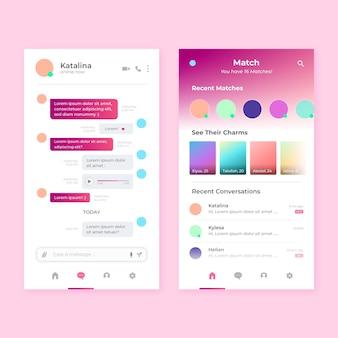 Interface de bate-papo do aplicativo de namoro