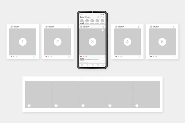 Interface de carrossel do instagram com dispositivo
