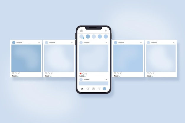 Interface de carrossel do instagram com smartphone