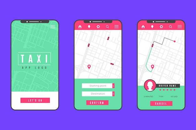 Interface de conceito de aplicativo de táxi