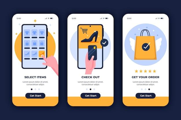 Interface de conceito online de compra