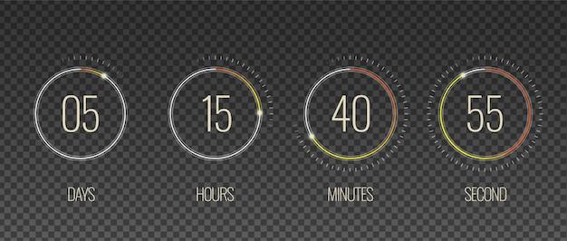 Interface de contagem regressiva transparente conjunto com símbolos de hora e minuto realista isolado