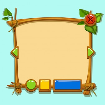 Interface de design de jogos bonito dos desenhos animados.